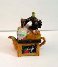 Small Tea Pot Sewing Machine Pill / Trinket Box Ceramic By Midwest Cannon Falls