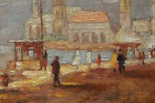 Paul Emile Lecomte (1877-1950) Orig. Signed O/C French Quay Scene