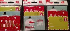 Lot of 3 CHRISTMAS HOLIDAY GIFT CARD HOLDERS 3-PACK ( 9 Holders) New