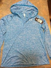 Women's Under Armour Heather Blue Sports Long Sleeve With Hood New! Size L