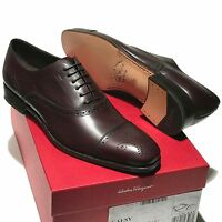 Salvatore Ferragamo Brown Men's Oxford Captoe Leather Dress Brogue Formal Shoes
