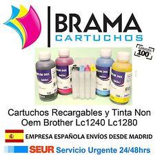 4 CARTUCHOS RELLENABLES Y 4 BOTES DE TINTA NONOEM BROTHER LC1280 MFC J6510DW