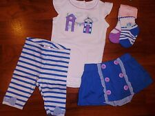 0 3 M Gymboree HIPPOS AND BOW 5pc Outfits Leggings Baby Girl New Born Gift NWT