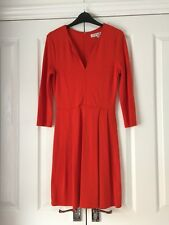 FRENCH CONNECTION ORANGEY CORAL RED SKATER STYLE STRETCH DRESS, Sz 12