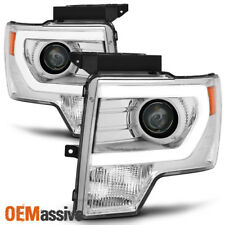 Fit [Halogen] 2009-2014 Ford F150 Chrome DRL LED Tube Projector Headlights