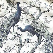 Laura Ashley Belvedere 2 Window Panels drapes Peacock Bird Floral 38 x 84 Gray