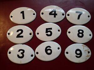 b) Lot of 9 , 1950-s VINTAGE OLD ENAMEL HEAVY METAL HOUSE HOME DOOR SIGN NUMBERS