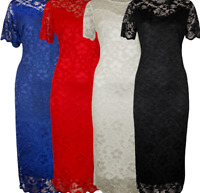 Plus Size Ladies Short Sleeve Floral Lace Lined Bodycon Midi Evening Party Dress