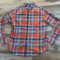 Polo Ralph Lauren Mens Large Orange Madras Plaid Button Down Shirt