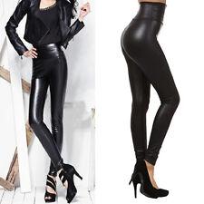 Women's PU Leather BLACK High Waist Leggings Stretch Skinny Pants Slim Legging