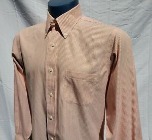 Brooks Brothers Milano Mens Orange Long Sleeve Button Down Shirt Size 16 33