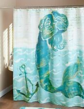 Mermaid Shower Curtain Nautical Anchor Seaside Fantasy Bathroom Teal Blue White