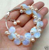 Pretty Light Blue Fire Opal and Fresh Water Pearl Cluster Bracele