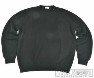 BRIONI Solid Black Wool Rib Woven Crewneck Sweater Mens - LARGE