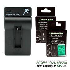 2 HIGHVOLTAGE Battery + Charger Kit for GoPro HERO4 Black & Silver AHDBT-401