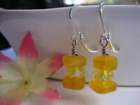 Stacked Yellow Sea Glass Square Yellow Crystal Silver Dangle Earrings Beach