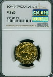 1994 NEW ZEALAND BRONZE SMALL $1 NGC MS-69 MAC SOLO FINEST MAC SPOTLESS