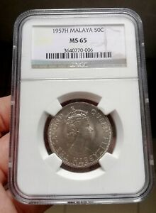 1957H Malaya & British Borneo 50 cents NGC MS65