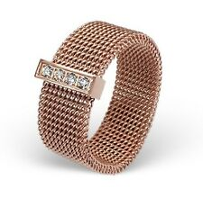 Rose Gold over Stainless Steel Women's 8mm Wide Mesh Ring with CZ Band Size 6