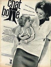 PUBLICITE ADVERTISING 124  1963  CHAT BOTTE   tricots en laine