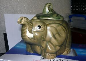Elephant Teapot Grey Novelty Ceramic Pottery Vintage Retro