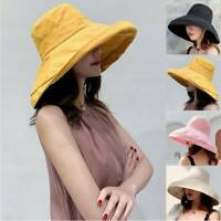 Women's Anti-UV Wide Brim Summer Outdoor Beach Cotton Bucket Sun Protective Hat