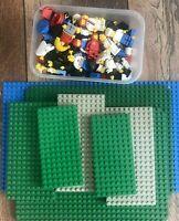Lego Bundle Vintage Mixed Figures & 9 x Thick Thin Lego Baseboards