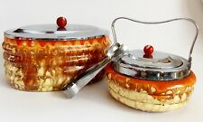 Antique 1930s Art Deco Ceramic Biscuit Box & Sugar Basin Tea Coffee Set Chrome