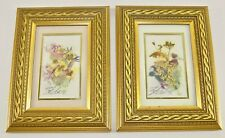 (2) Kathryn Blake FRAMED Pressed Dried WILDFLOWERS Bunchberry Clover FRAMED PICS
