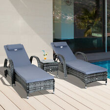More details for rattan sun lounger set wicker recliner bed side table garden furniture cushion