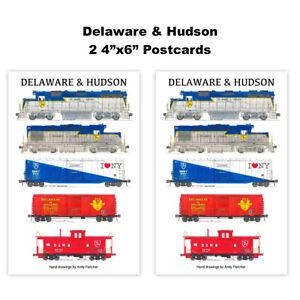 """Delaware & Hudson 2 4""""x6"""" Postcards Andy Fletcher"""