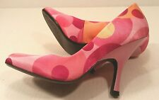 "Carlos Santana Stir Multi PINKS Satin Fabric Pumps Shoes 3.75"" Heels Womens 5.5M"
