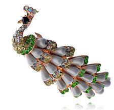 Green Rainbow Pearls & Rhinestones Peacock Hair Barrette Accessories HA151