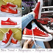 NEU GR. 38 ♡ Hologramm Reflex-Schimmer Fashion Sneakers Turnschuhe Rot Italy