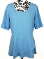 Isaac Mizrahi Womens Elbow Slv Peplum Flounce Knit Top Ocean Blue M A303962