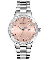 Bulova Women's Quartz Diamond Accents Pink Dial Silver-Tone 32mm Watch 96R175