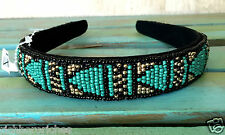 """NWT Urban Outfitters shaped turquoise black gold Aztec Seed Bead Headband 1"""""""