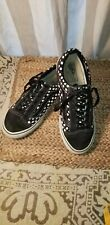 Custom Vans Black & White polka dots ' canvas~Leather~Suede Womens 9 Mens 7