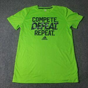 Adidas Shirt Boys XLARGE T Shirt Adult Fluro Green Casual Shirt XL Polyester