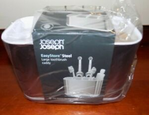 JOSEPH JOSEPH  LARGE TOOTHBRUSH CADDY  STAINLESS STEEL / WHITE  (705310)  NEW