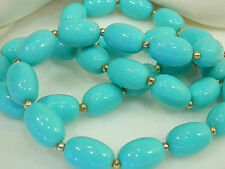 Pretty Vintage 70's Teal Aqua Thermoset Necklace 1558M5