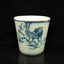 Chinese Blue and white porcelain Hand Painted Cock & flower pattern cup   S052