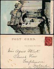 GIBRALTAR to IRELAND 1906 KE7 1890 DATE ERROR...TEMPLEMORE...MOORISH CASTLE PPC