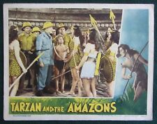 TARZAN AND THE AMAZONS~JOHNNY WEISSMULLER~ORIG 1945 LOBBY CARD~SHEFFIELD~VG (e