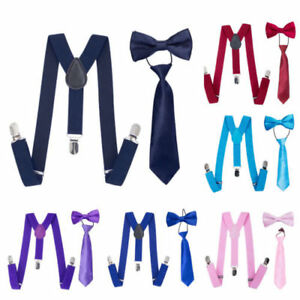 Matching Braces Suspenders and Bow Neck Tie Kids Children Boys All Sizes