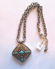Brighton Primrose Necklace-  silver & turquoise color- thick link chain-etching