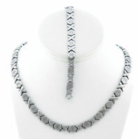 Hugs & Kisses Necklace Bracelet Set Stampato Stainless Steel Silver Tone 18/20''