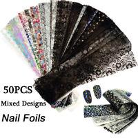 50PC Foils Finger Nail Art Sticker Decal DIY Transfer Stickers Tips Decor