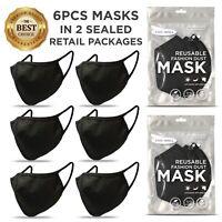 6 PCS Face Mask, Black Fashion Mask, Washable Reusable, Unisex Mask *US SELLER*