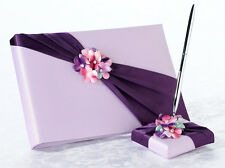 Radiant Flower Purple Satin Wedding Guest Book And Pen Set